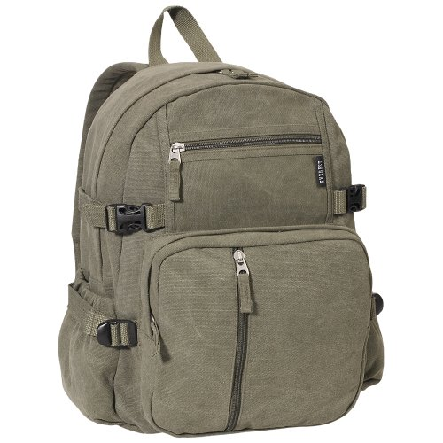 Everest Luggage Canvas Backpack Olive, Olive, One (Everest Bags Backpack)