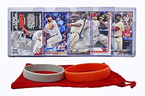 Phillies Player Mlb (Philadelphia Phillies Baseball Cards: Jean Segura, Odubel Herrera, Andrew McCutchen, Bryce Harper, Jake Arrieta ASSORTED Trading Card and Wristbands Bundle)
