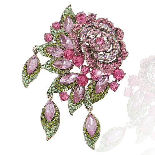 EVER FAITH Rose Flower Leaf Brooch Pendant Austrian Crystal Gold-Tone Pink