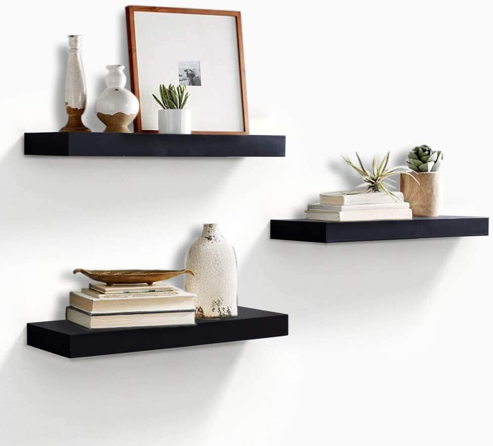 "AHDECOR Floating Wall Mounted Shelves, Set of 3 Display Ledge Shelves Wide Panel for Bedroom Office Kitchen Living Room, 5.9"" Deep, Black"