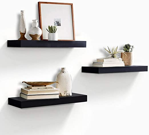 2-Pack AHDECOR Floating Shelves Black Ledge Wall Shelf for Home Decor with 4 Deep