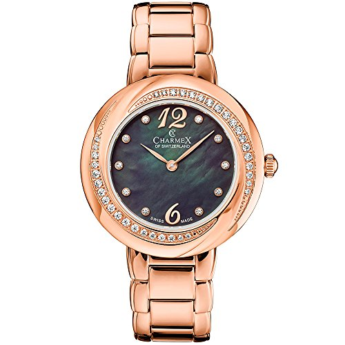 Charmex Women's Deauville 34mm Rose Gold-Tone Steel Bracelet & Case Quartz Black MOP Dial Watch 6366