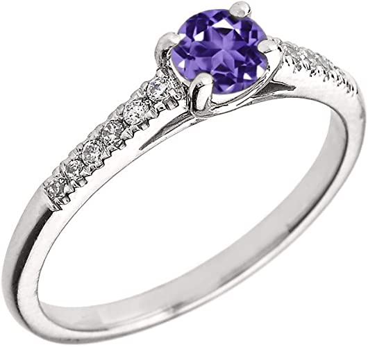Genuine Amethyst /& Diamond  Engagement and Proposal Ring in Yellow Gold