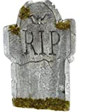 """Amscan Creepy Cemetery Halloween Party """"R.I.P"""" Mossy Tombstone Decoration (1 Piece), Grey, 22"""""""