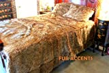 Fur Accents Faux Fur Queen Size Bedspread / Throw Blanket / Brown Wolf, Coyote Faux Fur /90'' X 96''