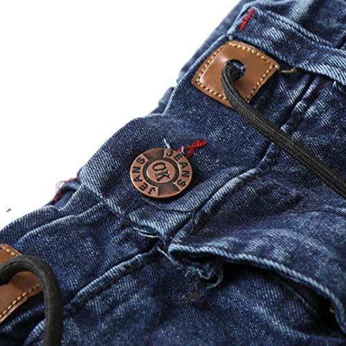 Da Tinta Battercake Pieghe Ufig Tasca Jeans Nuovi Laterale Unita Lavati Blu Comodo A Tee Uomo Moda Slim Blau Pantaloni f5w7xwX