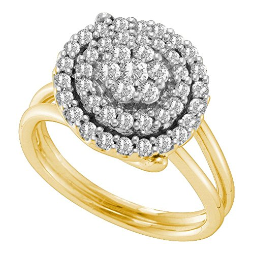 Round Diamond Flower Ring Solid 14k Yellow Gold Floral Cluster Band Right Hand Fashion Polished 3/4 (Diamond Flower Right Hand Ring)
