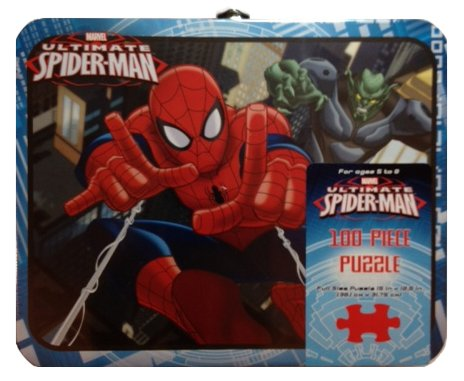 Marvel Ultimate Spiderman 100-Piece Puzzle in Tin Lunchbox - 100 Piece Puzzle Tin