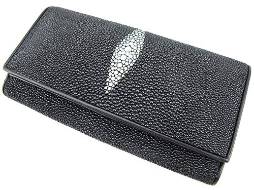 PELGIO Genuine Stingray Skin Leather Women's Clutch Wallet Purse (Black)
