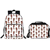 19'' School Backpack & Lunch Bag Bundle,Animal Decor,Watercolor Stylized Seahorse Pattern with Vibrant Effect Beauty of Nature Design,Gray Red,for Boys Girls