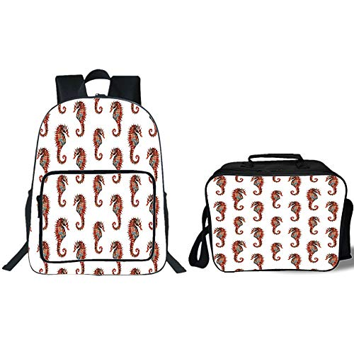 19'' School Backpack & Lunch Bag Bundle,Animal Decor,Watercolor Stylized Seahorse Pattern with Vibrant Effect Beauty of Nature Design,Gray Red,for Boys Girls by iPrint