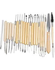 22Pcs/Set Pottery Clay Sculpture Tools Plasticine Carving Tool Set for Brushing Scraping Cleaning Wood and Stainless steel