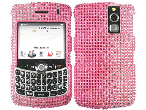 2 Tone Pink Bling Rhinestone Crystal Case Cover for Blackberry Curve 8300 8310 8320 (8330 Faceplate Cover Case)