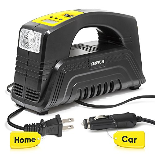 Kensun AC/DC Rapid Performance Portable Air Compressor Tire Inflator with Digital Display for Home (110V) and Car (12V) - 30 Litres/Min ()