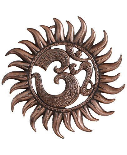 (Buddha Groove Metal Om Sun Wall Hanging with Copper Colored Finish with Om Pocket)
