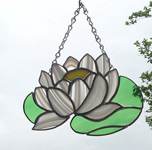 White Water Lily Handmade Stained Glass Flower Sun Catcher -