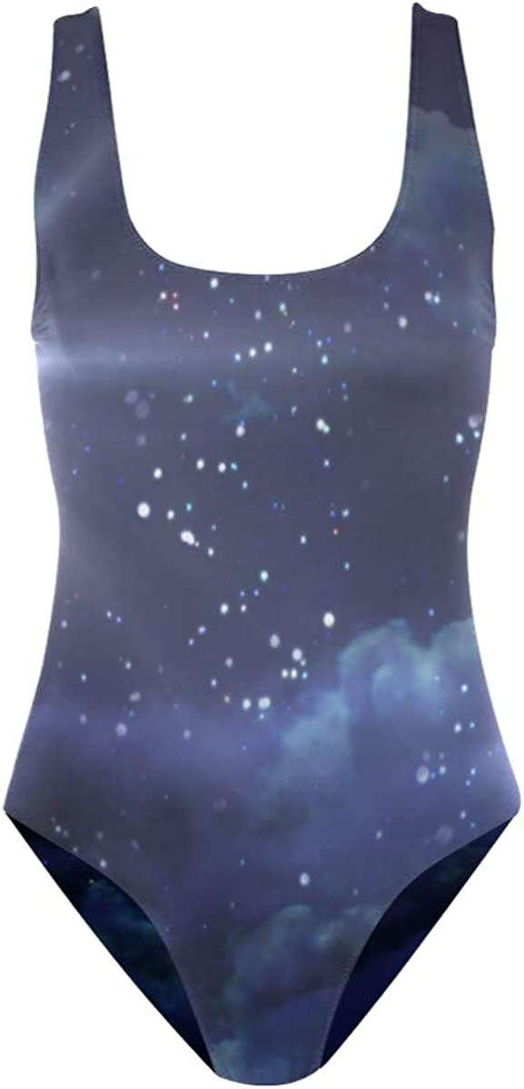 Starry Sky One Piece Swimwear for Women Girl Bathing Suit Tummy Control Backless Swimsuit Tankini Bikini
