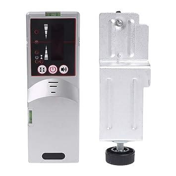 Detector láser de nivel, luz de haz rojo 635 nm, receptor de línea cruzada para exteriores con abrazadera: Amazon.es: Hogar