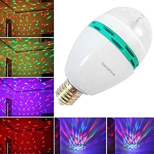 Denshine E27 3W Colorful Rotating Disco Ball Light Mini LED RGB Crystal Magic Ball Bulb Effect light Disco DJ Stage Revolving Lighting For Xmas Home Dance Party Ballroom Club Pub Bar