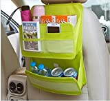 Microtimes Auto Car Back Seat Tidy Multi Pocket Hanging Storage Bag Organiser Auto Travel Holder Wall Mount Oxford fabric File Organizer Bag Magazine Storage (green)