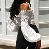 iYBUIA Women Hollow Lace Off Shoulder Long Sleeve