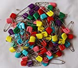 100 Pieces Big 2 1/8 inch Colorful Safely Pins Baby Child Infant Kids Stainless & Rustproof Diaper Pins/ Cloth Diaper Pins Stainless Steel Traditional Safety Pin
