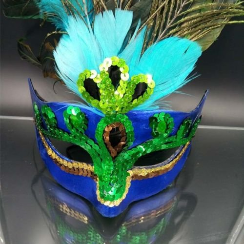 JUNGSON--Cosplay Peacock Feather Venetian Mardi Gras Masquerade Mask Party Costume (Peacock Fancy Apples)