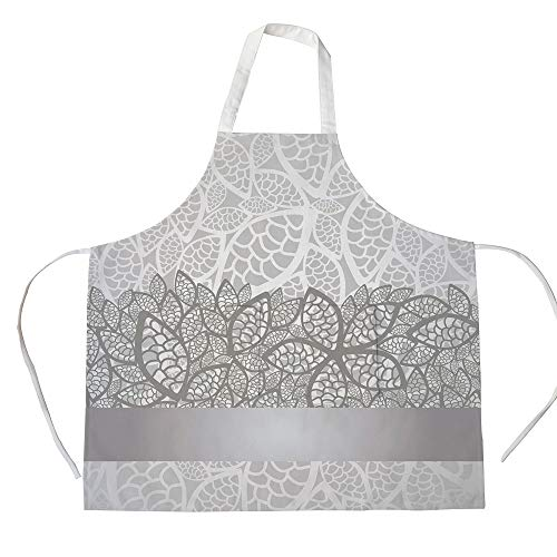 iPrint Cotton Linen Apron,Two Side Pocket,Silver,Lace Inspired Flower Motifs Bridal Composition Stylized Leaves Wedding Theme Decorative,Gray Silver White,for Cooking Baking Gardening -