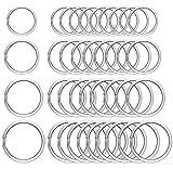 80 Pieces Round Flat Key Chain Rings Metal Key Rings Split Key Rings for Home Car Keys Organization,Arts & Crafts(Four Sizes)