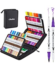 Ohuhu Dual Tips Coloring Brush Fineliner Color Marker Pens, Water Based Marker for Calligraphy Drawing Sketching Coloring