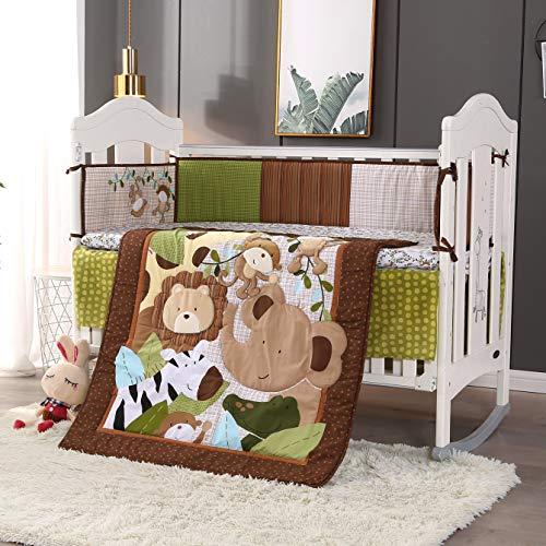 Wowelife Safari Crib Bedding Sets for Boys 100% Cotton 7-Piece Jungle Nursery Bedding, Brown/Green(Safari-7 Piece)