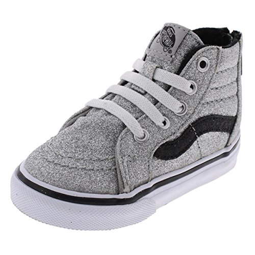 Vans Girls SK8-HI High Top Sparkly Casual Shoes Silver 6 Medium (B,M) Toddler