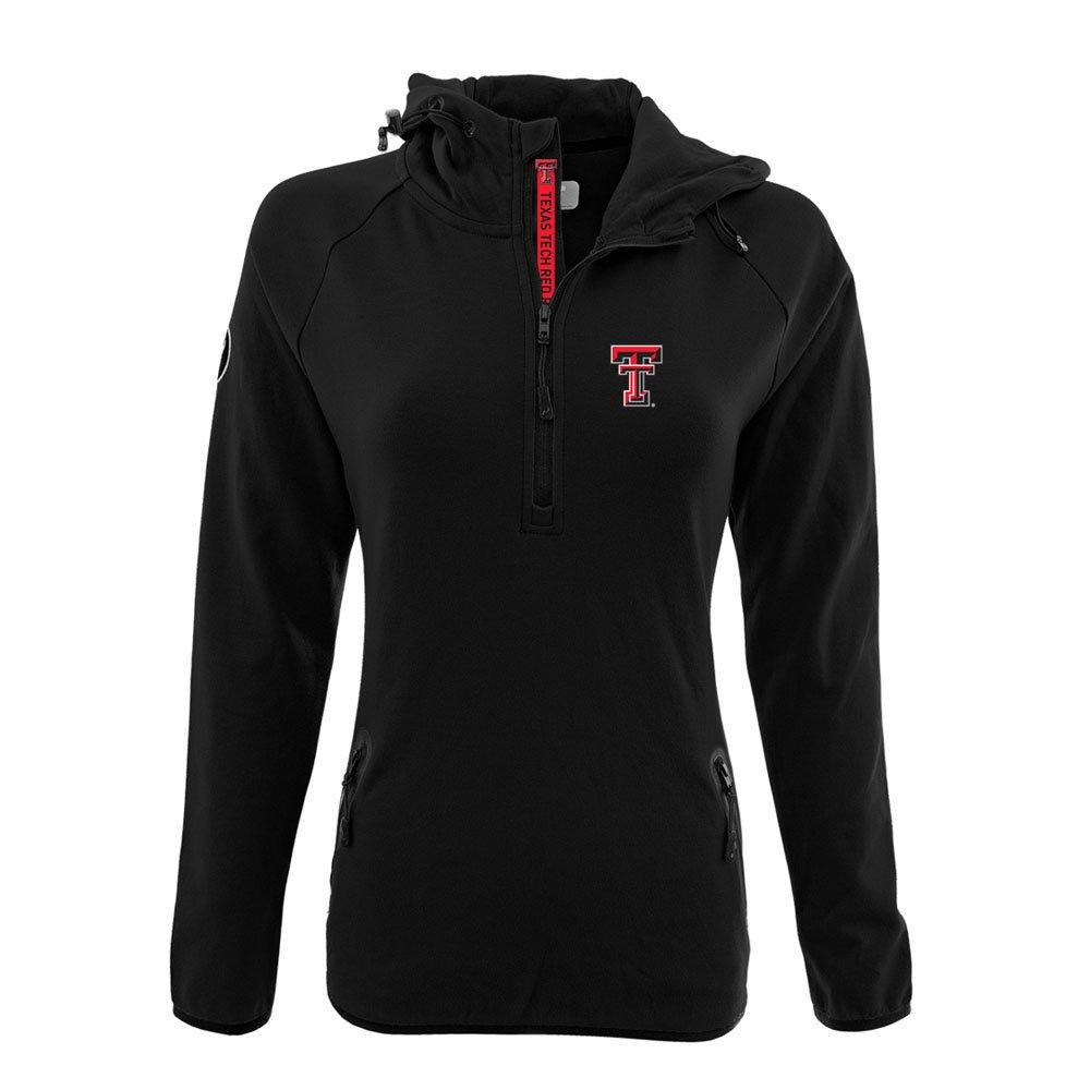 NCAA Women 's Faint Insignia太字Quarter Zipミッドレイヤーシャツ B074QTY4YB Large|ブラック|Texas Tech Red Raiders ブラック Large