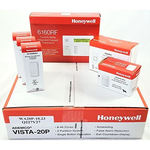Image of Honeywell Vista 20P Wireless Kit with a 6160RF Keypad, One 5800PIR-Res Motion Sensor, Three 5816WMWH Door/Window Contacts, and a WAVE2 Siren