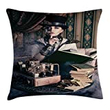 Ambesonne Gothic Throw Pillow Cushion Cover, Portrait of Steampunk Woman with Medieval Vintage Outfit Historic Fashion Art Photo, Decorative Square Accent Pillow Case, 18 X 18 Inches, Brown Teal