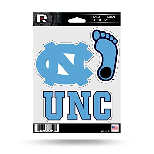 North Carolina Tar Heels Automobile - NCAA North Carolina Tar Heels  Triple Spirit Stickers, Blue, White, 3 Team Stickers