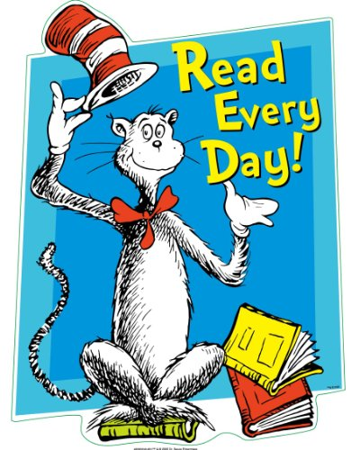 Eureka Cat in The Hat Read Every Day Clings