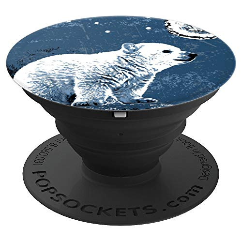 Polar Bear Moon and Polaris Star Design Gift - PopSockets Grip and Stand for Phones and Tablets ()