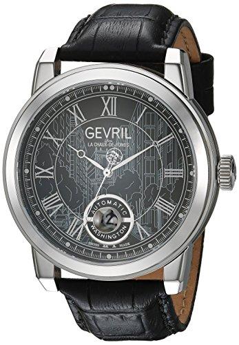 Gevril Washington Men's Swiss Automatic Black Leather Strap Watch, (Model: 2621L)