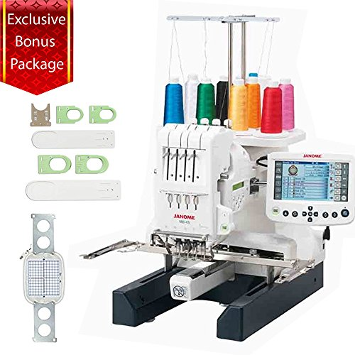Janome MB-4S Bonus Embroidery Sewing Machine Kit With Extra M2 Hoop & A Sock Hoop Kit That Includes 2 large hoops, 2 small hoops, 2 sliders (for the S and L hoops) and 1 hoop holder by Janome