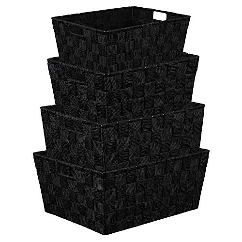 (KEDSUM Storage Box Woven Basket Bin, Stackable Storage Baskets Woven Strap Baskets Woven Baskets for Shelves Built-in Carry Handles-Set of 4(Black))