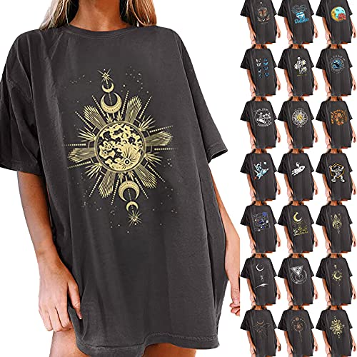 Graphic Tees for Women Vingate Moon and Soon Print Tunic Tops Oversize Drop Shoulder Longline T Shirt