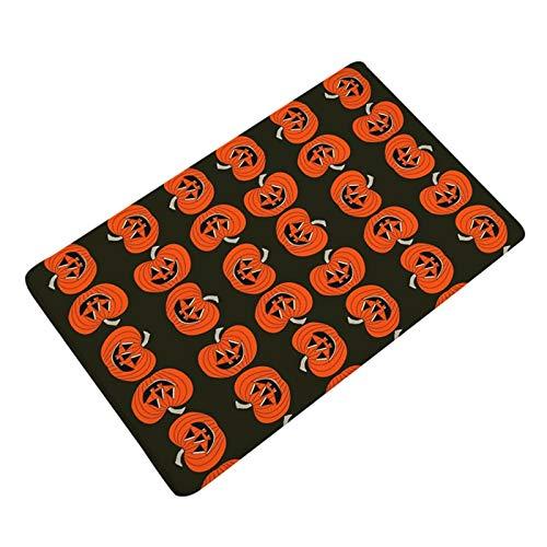FelixStore Bath Mat Flannel Printing Halloween Funny Pumpkin Door Mats Bath Mats Bathroom Rectangle Footpads Anti Slip