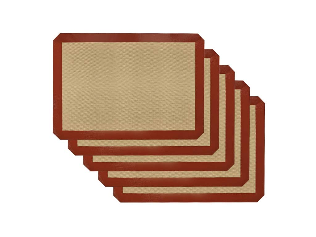 """Silicone Baking Mat - 5 Pack of Half Sheet (15 7/10"""" x 11 4/5"""") - Large - Non Stick Silicone Liner for Bake Pans, Toaster Ovens & More"""