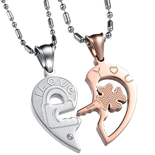 Crystal Key Necklace (UM Jewelry His and Hers Stainless Steel Crystal Lock Key Puzzle Heart Pendant Couple Necklaces)