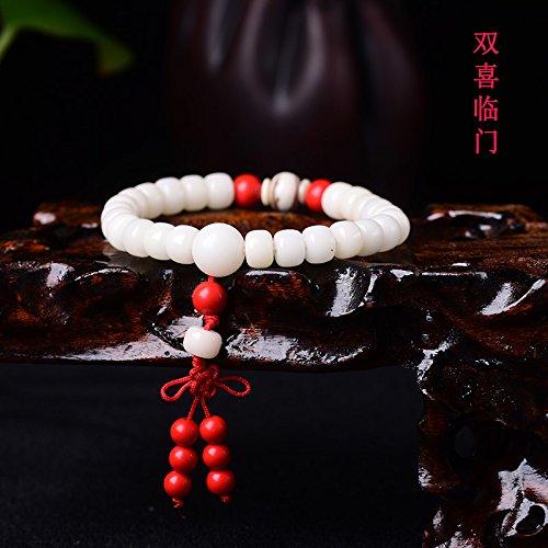 White Jade Bracelets Bodhi Prayer Beads Bracelet Bangle for Men Man Women Girls Lap Bodhi Root pu Tizi Necklace Pendant (Double Happiness