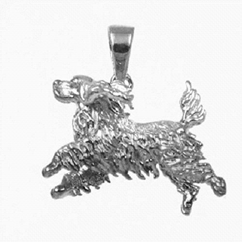 Sterling Silver COCKER SPANIEL DOG 3D Solid Pendant, Made in USA, 18
