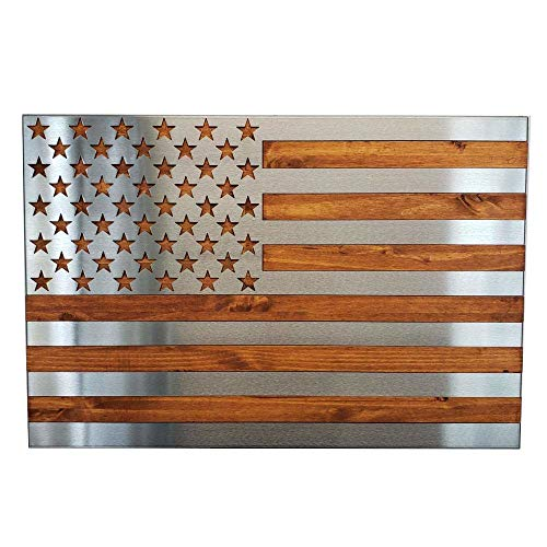 Art Reproduction Sculpture - Metal Art of Wisconsin Metal Art US Flag Metal Decor, Patriotic Wall Art, Hand Oiled Pine Polished 4 Foot