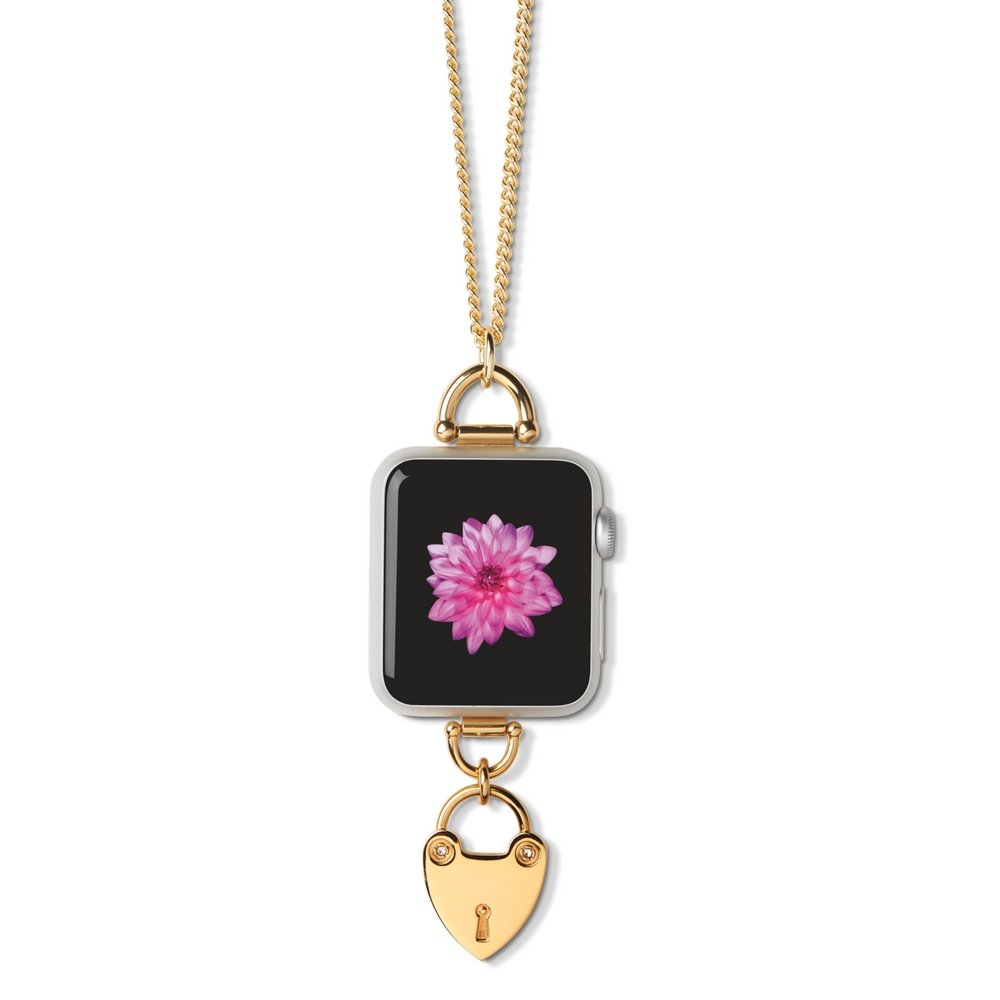 """Bucardo Charm Necklace Accessory for Apple Watch SERIES 1 & SERIES 2 - Signature Charm & 38"""" Adjustable Chain Transform Apple Watch into Jewelry for Alternative Wearability. (Heartlock, Gold 38mm)"""