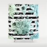 Pink and Green Striped Shower Curtain Huisfa Succulents in The Garden Teal Blue Green Gradient with Black Stripes Shower Curtain 72 x 72 inches